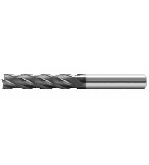 Four flutes end mills, long series, carbide.