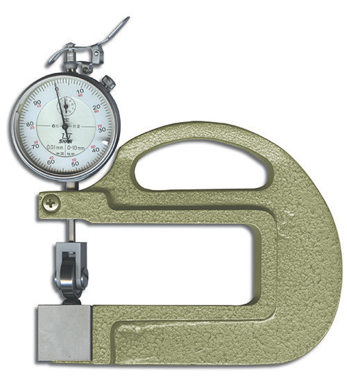 Thickness gauge with roller inserts.