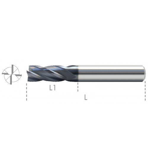 Four flutes end mills, Carbide.
